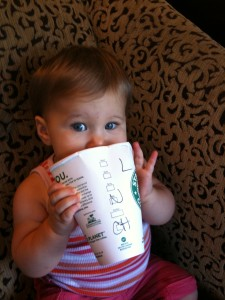 Cailee has always loved Starbucks - such an expensive habit at such a young age (well she just gets to munch on the cups)
